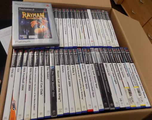 Large box of PS2 games