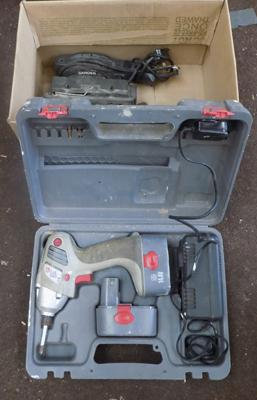 Box with tools, compact laser, power drill & orbital sander