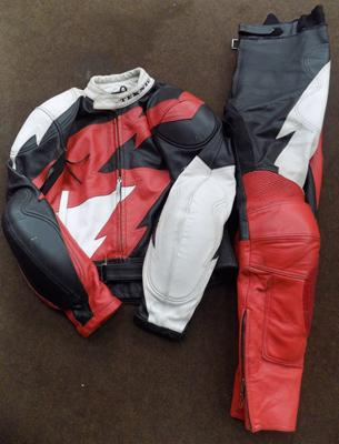 Red/white/black motorcycle suit, size 56, large