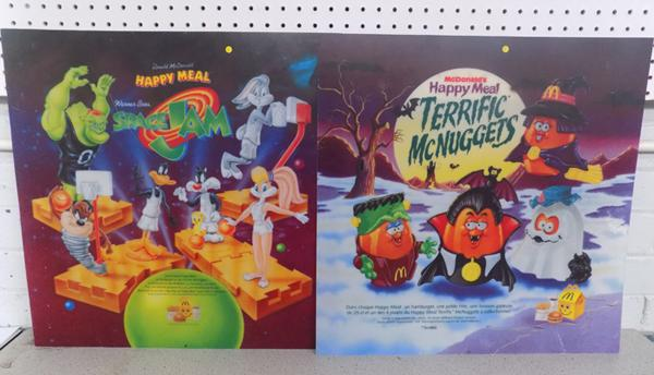 2 x McDonald's display signs, one Halloween, one Space Jam - approx. 22 x 22 inches