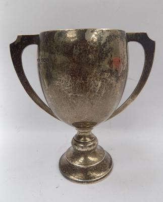 Solid silver trophy, hallmarked 1937, weight approx. 85 grams & 4 inches