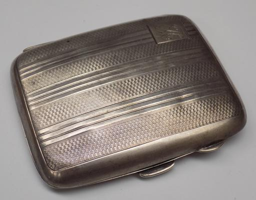 Solid silver cigarette case with wartime inscription